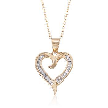 ".20 ct. t.w. Multi-Cut Diamond Heart Pendant Necklace in 14kt Yellow Gold. 18"", , default"