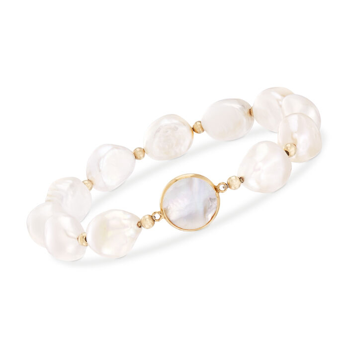 Cultured Pearl and Mother-Of-Pearl Stretch Bracelet in 14kt Yellow Gold, , default