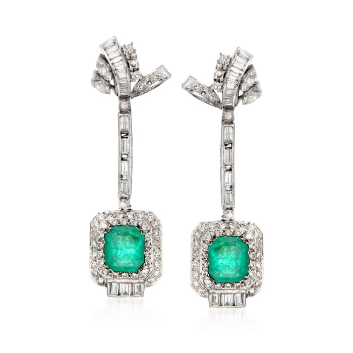 C. 1990 Vintage 6.65 ct. t.w. Emerald and 4.30 ct. t.w. Diamond Drop Earrings in Sterling Silver and Palladium, , default
