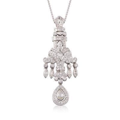 C. 1990 Vintage 2.22 ct. t.w. Multi-Cut Diamond Pendant Necklace in 18kt White Gold, , default