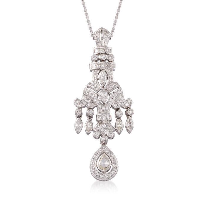 """C. 1990 Vintage 2.22 ct. t.w. Multi-Cut Diamond Pendant Necklace in 18kt White Gold. 18"""", , default"""