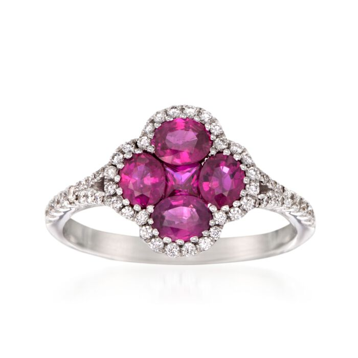 Gregg Ruth 1.34 ct. t.w. Ruby and .29 ct. t.w. Diamond Clover Ring in 18kt White Gold, , default