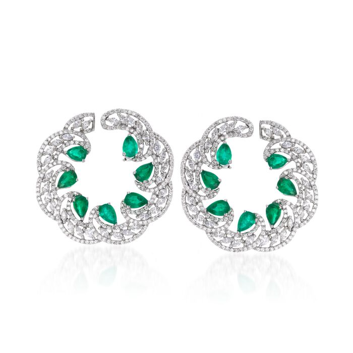 5.00 ct. t.w. Emerald and 4.70 ct. t.w. Diamond Earrings in 18kt White Gold, , default