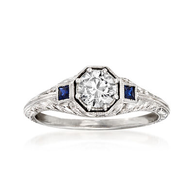 .56 Carat Diamond and .13 ct. t.w. Sapphire Engagement Ring in 14kt White Gold, , default
