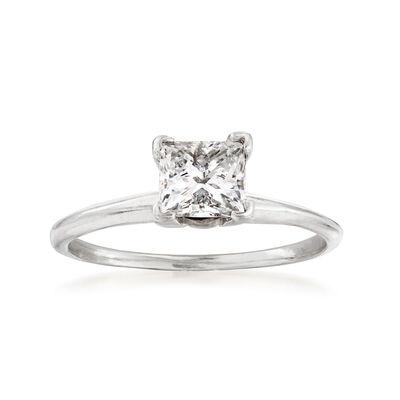 C. 1990 Vintage .75 Carat Diamond Solitaire Ring in 14kt White Gold, , default