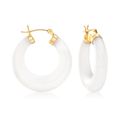 White Kunlun Jade Hoop Earrings in 14kt Yellow Gold, , default