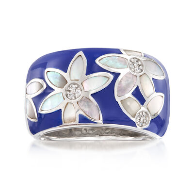 "Belle Etoile ""Moonflower"" Blue Enamel and Mother-Of-Pearl Ring with CZ Accents in Sterling Silver"