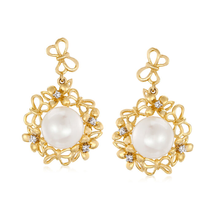 8-9mm Cultured Pearl Butterfly Drop Earrings with Diamond Accents in 14kt Yellow Gold, , default