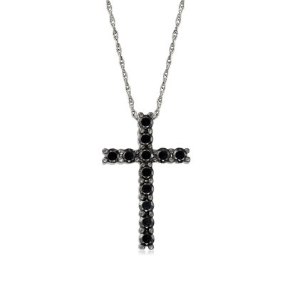 1.00 ct. t.w. Black Diamond Cross Necklace in Sterling Silver, , default