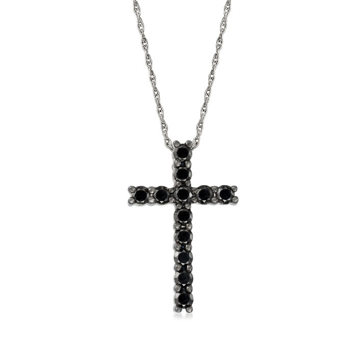 1.00 ct. t.w. Black Diamond Cross Necklace in Sterling Silver