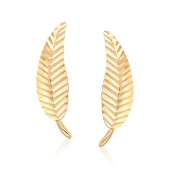18kt Yellow Gold Diamond-Cut and Polished Leaf Stud Earrings, , default