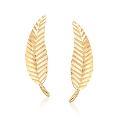 18kt Yellow Gold Diamond-Cut and Polished Leaf Stud Earrings , , default