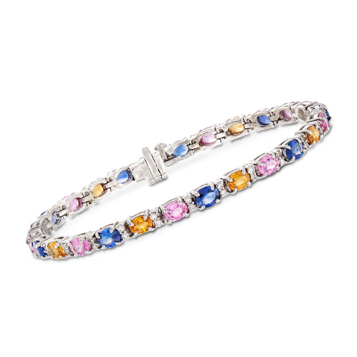 """10.30 ct. t.w. Multicolored Sapphire and .78 ct. t.w. Diamond Tennis Bracelet in 14kt White Gold. 7"""", , default"""