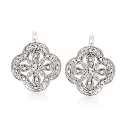 Sterling Silver Openwork Clover Motif Drop Earrings With Diamond Accents, , default