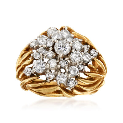C. 1980 Vintage 1.45 ct. t.w. Diamond Cluster Ring in 18kt Yellow Gold