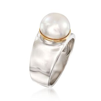 9.5-10mm Cultured Pearl Ring in Sterling Silver with 14kt Gold, , default