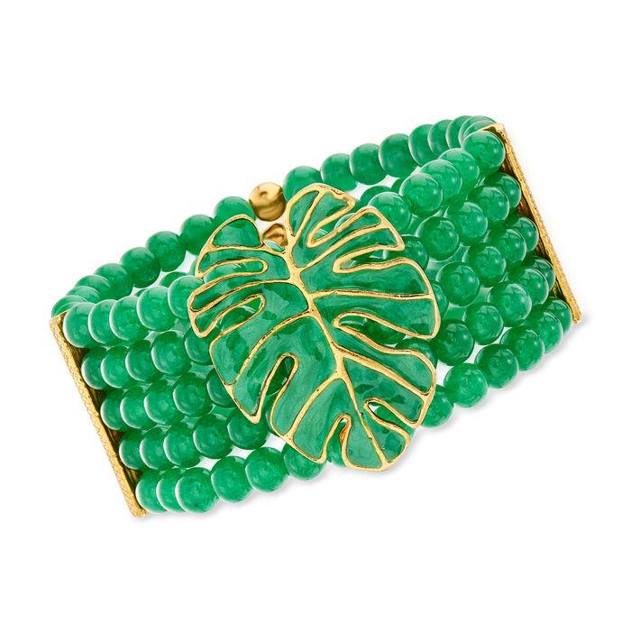 "Italian 165 ct. t.w. Green Quartz and Enamel Leaf Stretch Bracelet in 18kt Gold Over Sterling. 7"""