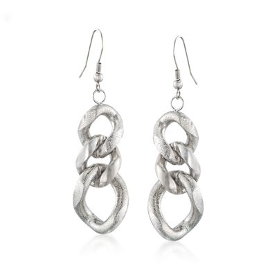 Stainless Steel Curb Link Drop Earrings, , default