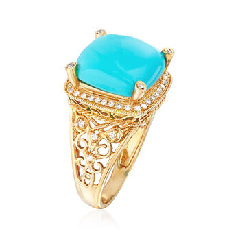 13.5mm Stabilized Turquoise and .26 ct. t.w. Diamond Ring in 14kt Yellow Gold, , default