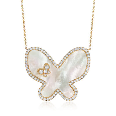 Mother-Of-Pearl and 1.35 ct. t.w. Diamond Butterfly Necklace in 14kt Yellow Gold, , default