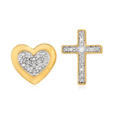 .70 ct. t.w. Diamond Cross and Heart Mismatched Stud Earrings in 14kt Yellow Gold