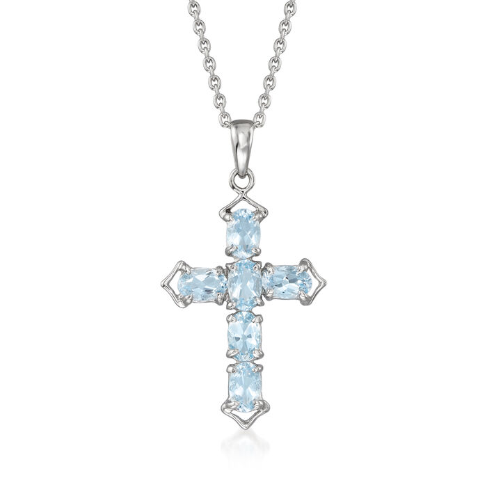 """2.10 ct. t.w. Aquamarine Cross Pendant Necklace in Sterling Silver. 18"""""""