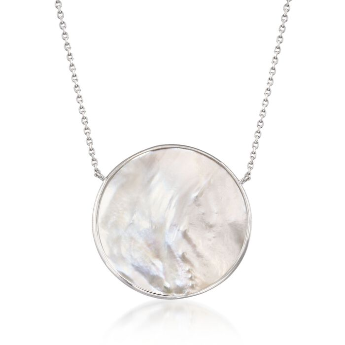 """30mm Mother-Of-Pearl Necklace in Sterling Silver. 18"""", , default"""