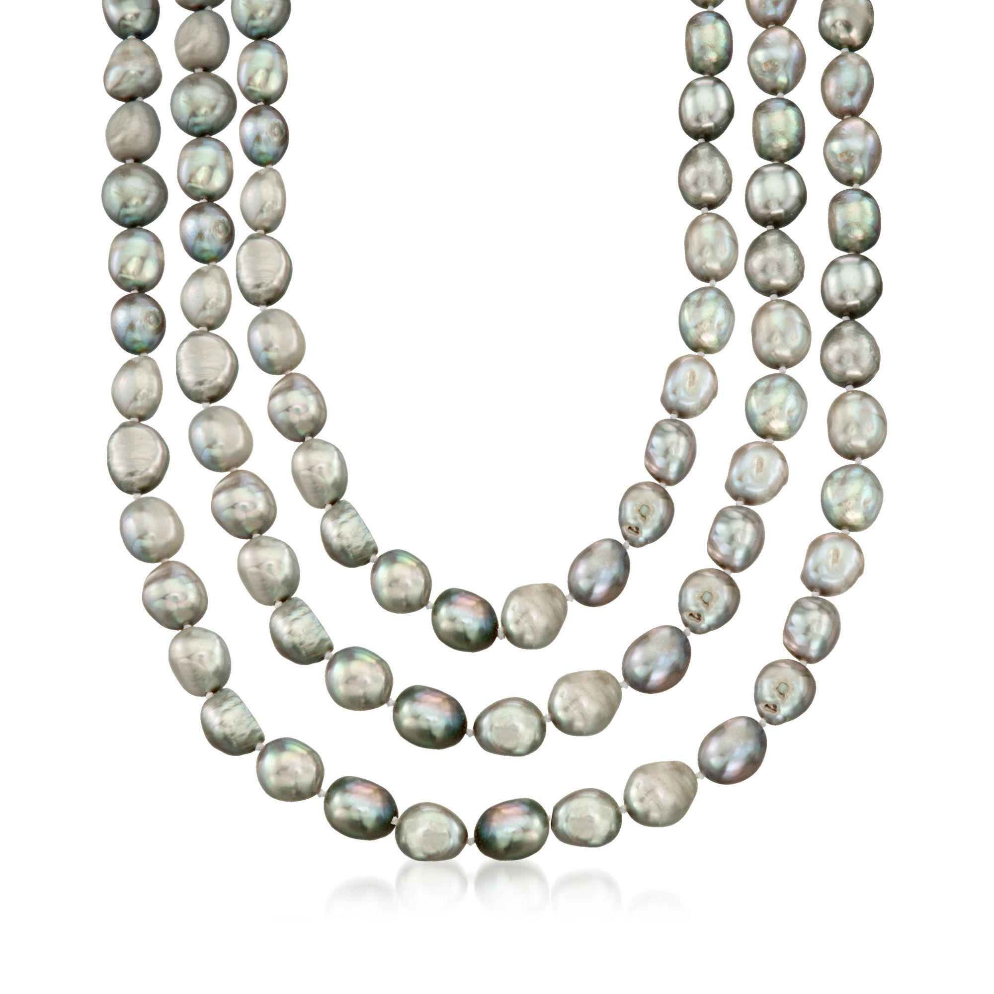 Naturel 10-11 Mm White Freshwater Cultured Pearl Necklace 60/""
