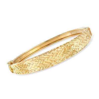 Italian 14kt Yellow Gold Chevron Bangle Bracelet, , default