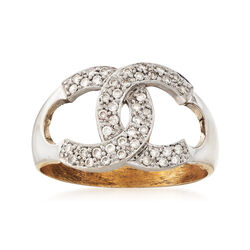 C. 1980 Vintage .35 ct. t.w. C-Link Diamond Ring in 18kt Yellow Gold, , default