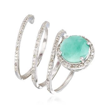 2.70 Carat Emerald and .51 ct. t.w. Diamond Coil Ring in Sterling Silver, , default