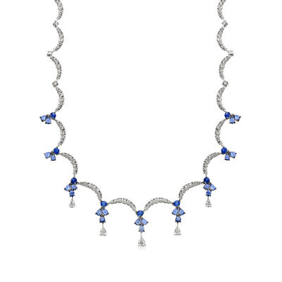 C. 1990 Vintage Stefan Hafner 5.65 ct. t.w. Sapphire and 4.45 ct. t.w. Diamond Collar Necklace in 14kt White Gold