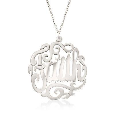 """Sterling Silver """"Faith"""" Script Pendant Necklace, , default"""