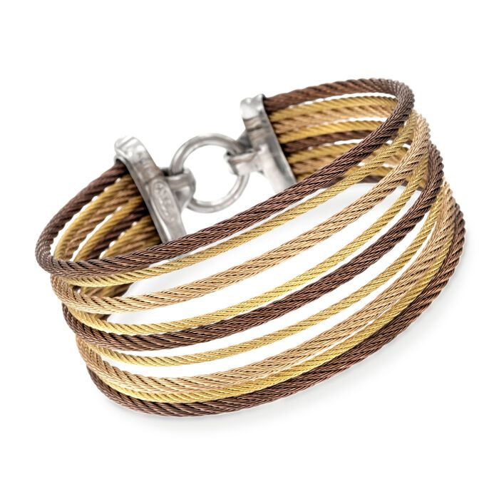 """ALOR """"Classique"""" Tri-Colored Stainless Steel Multi-Cable Bracelet with 18kt Yellow Gold"""