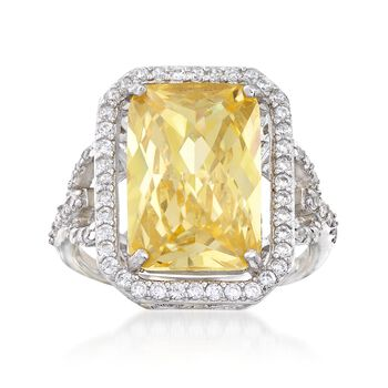 5.00 Carat Canary CZ and 1.10 ct. t.w. White CZ Ring in Sterling Silver, , default