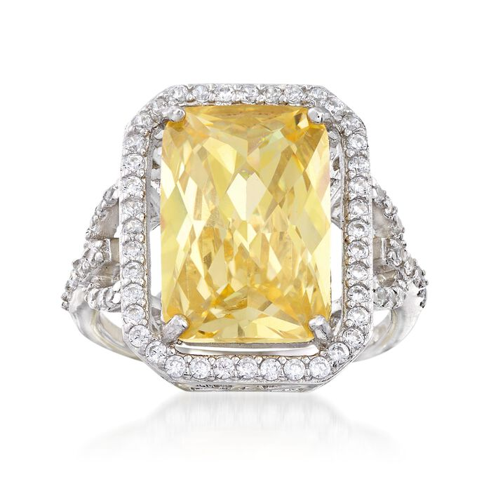 5.00 Carat Canary Yellow CZ and 1.10 ct. t.w. White CZ Ring in Sterling Silver, , default