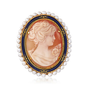 """C. 1960 Vintage Oval Cameo with Pearls Necklace in 18kt Yellow Gold. 18"""", , default"""