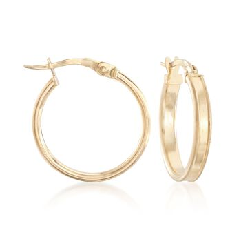 """Italian 18kt Yellow Gold Satin-Finished and Polished Hoop Earrings. 3/4"""", , default"""