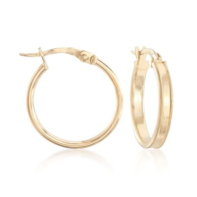 Italian 18kt Yellow Gold Satin-Finished and Polished Hoop Earrings, , default
