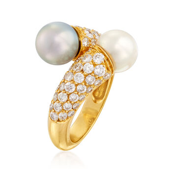 C. 1980 Vintage Van Cleef 8mm White and Black Cultured Pearl and 1.62 ct. t.w. Diamond Bypass Ring in 18kt Yellow Gold. Size 6