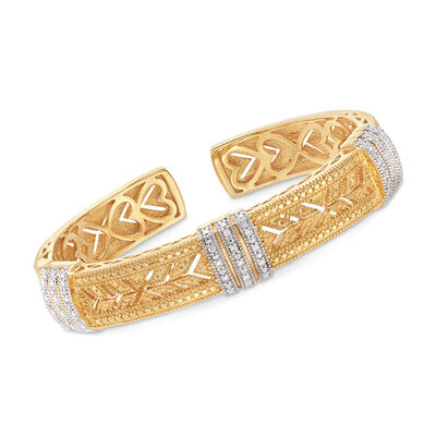 .28 ct. t.w. Diamond Cuff Bracelet in Sterling Silver and 18kt Yellow Gold Over Sterling, , default