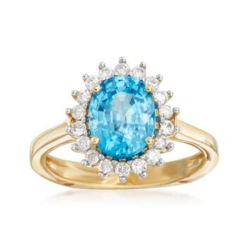 3.60 Carat Blue Zircon and .25 ct. t.w. Diamond Ring in 14kt Yellow Gold, , default