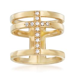 Italian .20 ct. t.w. CZ Cross Ring in 18kt Gold Over Sterling. Size 6, , default