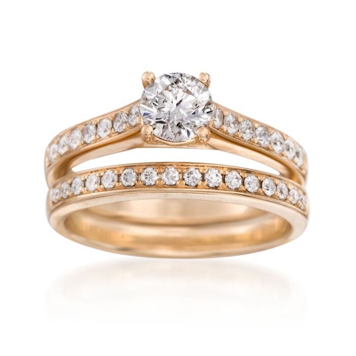 1.17 ct. t.w. Diamond Bridal Set: Engagement and Wedding Rings in 14kt Yellow Gold. Size 7