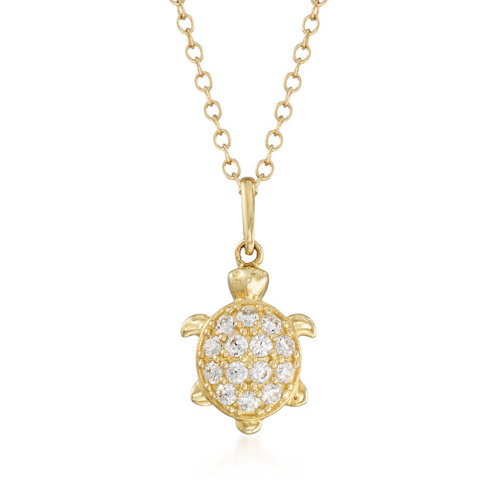 .20 ct. t.w. CZ Turtle Pendant Necklace in 14kt Yellow Gold