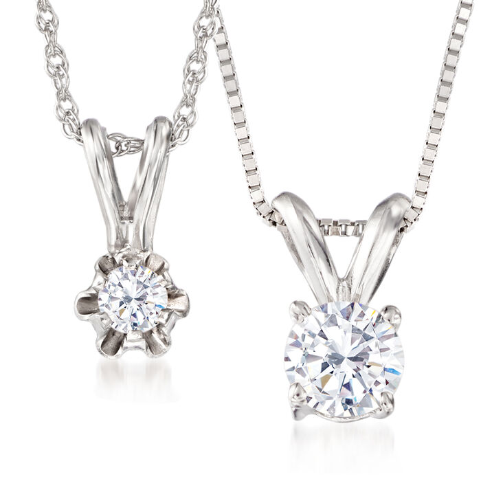 "Mom & Me .40 ct. t.w. Diamond Solitaire Pendant Necklace Set of Two in 14kt White Gold. 13""-18"", , default"
