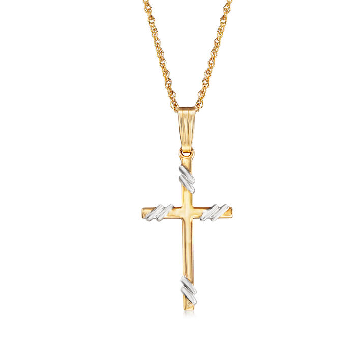14kt Yellow Gold Cross Pendant Necklace