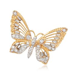 C. 1990 Vintage 1.90 ct. t.w. Diamond Openwork Butterfly Pin in 14kt Yellow Gold , , default