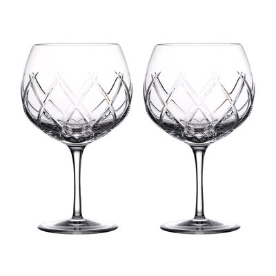 """Waterford Crystal """"Gin Journeys"""" Set of Two Olann Balloon Glasses"""
