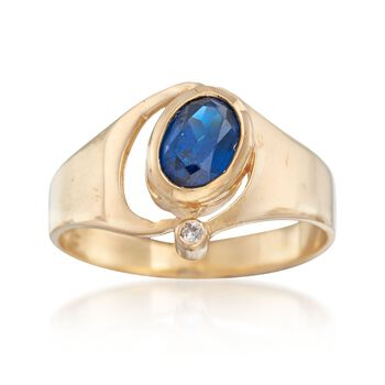 C. 1980 Vintage .95 Carat Blue Synthetic Spinel Ring With Diamond Accent in 14kt Yellow Gold. Size 7.5, , default